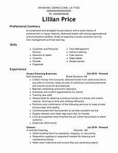 Cleaning Business Resume Self Employed House Cleaning Business Resume Sample