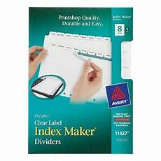 Avery Lable Maker Avery Mini Index Maker Clear Label Dividers With White