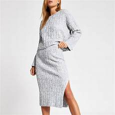 grey cable knit midi skirt river island