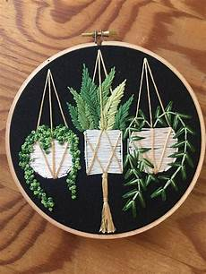 hanging pots on black succulent and pot plant embroidery