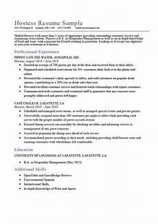 Hostess Job Description Resumes Hostess Resume Sample Amp Expert Writing Tips Resume Genius