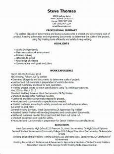Resume For Welding 1 Tig Welder Resume Templates Try Them Now Myperfectresume
