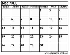 print calendar april 2020 april 2020 calendar printable