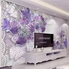 flower wallpaper modern european style purple flower jewelry 3d photo mural