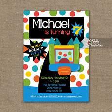 7th Birthday Invitation Card Printable 7th Birthday Invitation Bounce House Invitations Nifty