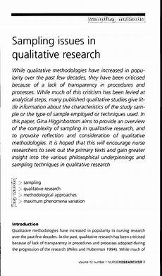 An Example Of A Research Design Pdf Sampling Issues In Qualitative Research