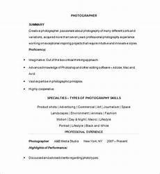 Photography Objective Resume 15 Photographer Resume Templates Doc Pdf Free