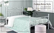 aingoo single bed frame with wood slats solid 3ft metal