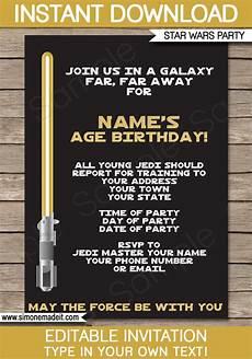 Star Wars Birthday Party Invitations Gold Star Wars Invitations Editable Template Birthday