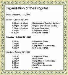 Program Of Events Sample Event Management Developing The Event Programme