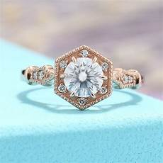 moissanite engagement ring vintage engagement ring rose gold