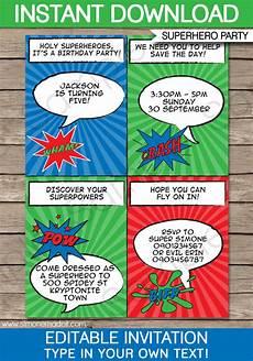 Printable Superhero Invitations Super Hero Party Invitations Template Superhero Birthday