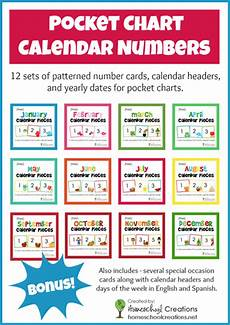 Cards And Pockets Color Chart Free Pocket Chart Calendar Card Set For The Entire Year