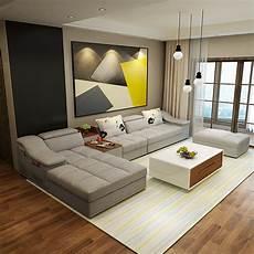 muebles de sala moderno en forma de l tela sof 225 seccional