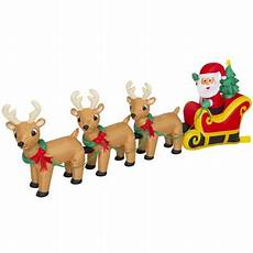 Santa Claus Reindeer Lights Best Choice Products 9ft Pre Lit Inflatable Christmas