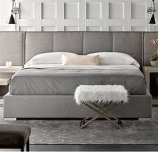 connery modern gray fabric upholstered platform bed