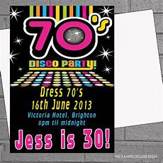 Disco Party Invitations 1970s 70s Seventies Disco Birthday Party Invitations X 12