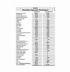 Monthly Expenditure Worksheet 11 Expense Sheet Templates Free Sample Example Format