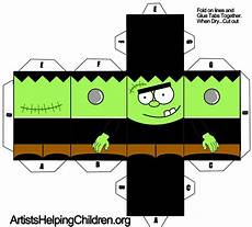 Paper Foldable Templates Frankenstein Foldable Paper Toy Craft For Halloween Kids