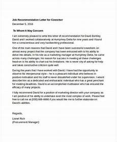 Coworker Letter Of Recommendation Coworker Recommendation Letter 10 Free Word Pdf