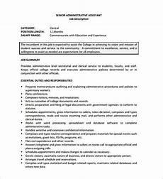 Senior Administrative Assistant Job Description Administrative Assistant Job Description Template 10