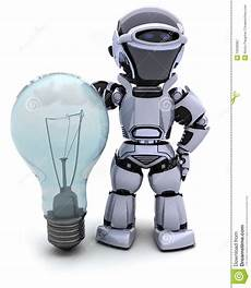 Light Robot Robot With A Light Bulb Royalty Free Stock Photography