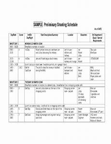 Shooting Schedule Sample Fillable Online People Ucsc Sample Preliminary Shooting
