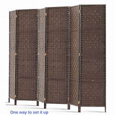 6 panel privacy screen room divider wood foldable stand