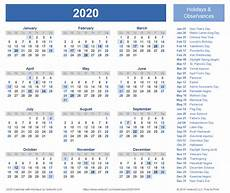 2020 Calendar Holidays Usa 2020 Calendar Templates And Images