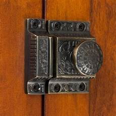 solid brass cabinet latch with knob hardware