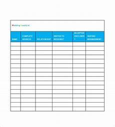 Wedding Guest List Spread Sheet Wedding Guest List Template 10 Free Word Excel Pdf