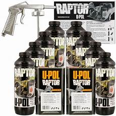 u pol raptor black truck bed liner kit w spray gun 8l 2