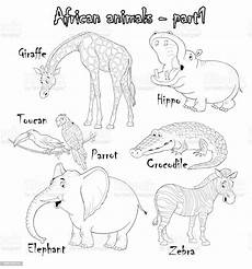set of animals coloring page