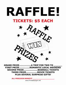 Raffle Ticket Signs Printable Raffle Fundraiser Sign