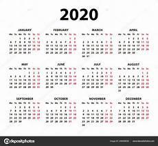 Basic Calendar 2020 Calendar 2020 Vector Basic Grid Simple Design Template