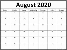 2020 Calendars Free August 2020 Calendar Free Printable Monthly Calendars