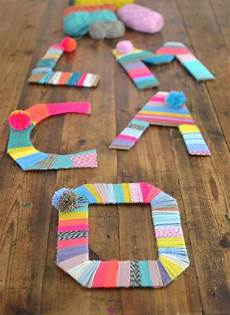 yarn wrapped cardboard letters easy and project