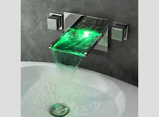 Koko LED Lighted Waterfall Wall Mount Sink Faucet   Modern   Bathroom Faucets And Showerheads