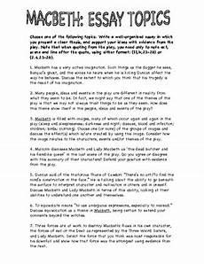 Macbeth Essay Conclusion 7 Macbeth Essay Topics By Easy As Pie Teachers Pay Teachers