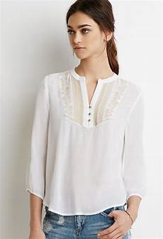 white peasant blouse lyst forever 21 embroidered peasant blouse in white