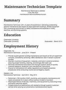Maintenance Technician Resume Sample Maintenance Technician Resume Example Resume Com