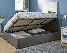 stunning side lift ottoman storage bed in grey fabric 3ft
