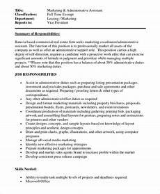 Admin Assistant Job Description Sample Free 14 Sample Marketing Assistant Job Descriptions In