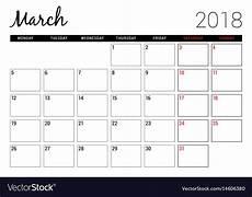 Printable Calendar Planner March 2018 Printable Calendar Planner Design Vector Image