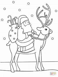 santa reindeer coloring page free printable