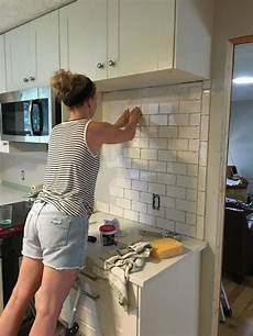 installing backsplash tile in kitchen subway tile backsplash step by step tutorial part one