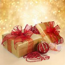 gift box and decorations in gold and stock