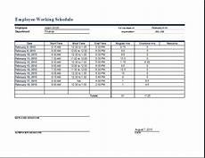 Working Schedule Format Employee Work Schedule Format Word Amp Excel Templates