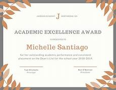 Academic Award Certificate Academic Excellence Certificate Templates By Canva