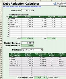 Credit Card Debt Payoff Calculator Free Excel Based Debt Reduction Calculator To Payoff